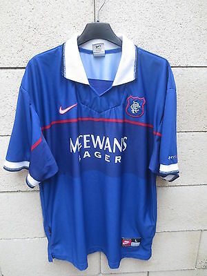 VINTAGE Maillot GLASGOW RANGERS 1997 1999 NIKE home shirt jersey L