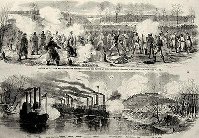 Battle of Fort Donelson, Cumberland River, Dover Tennessee 1862 Antique Print