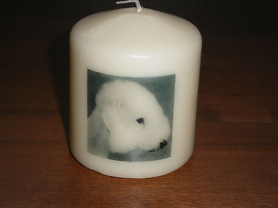 Candle Picture Bedlington Terrier Dog Be Personalised Gift Birthday Memorial New