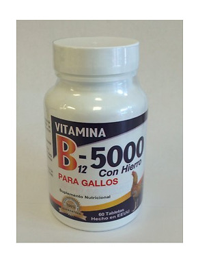 Vitamin B12-5000 With Iron Nutritional Supplement for Roosters 60 Tablets