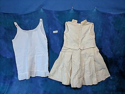Vintage Girls Cream Dress Early 1900s, MOP buttons White Slip CH15