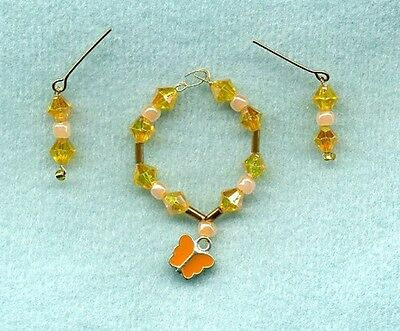 Barbie Doll Jewelry - Peach Butterfly & Crystals Necklace & Earrings Set