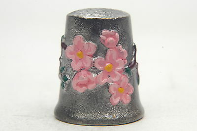 Handpainted Pink Flowers Pewter Thimble B/119