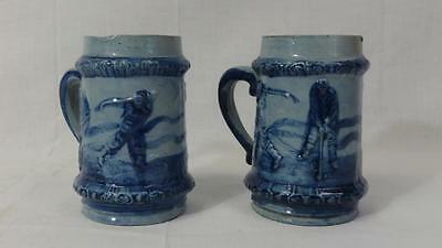 Antique Pair of Robinson Stoneware Golfing Motif Mugs Cobalt Blue Decorated