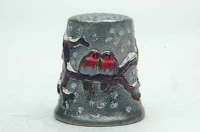 Handpainted Robins On Branch In The Snow Pewter Thimble B/119