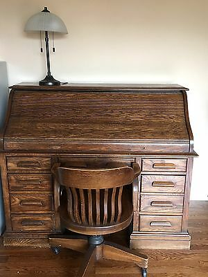 Antique Old Wood Roll Top Desk U0026 Chair Wooden P/U NY Secretary New York