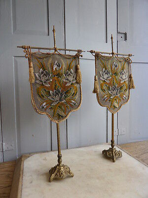 Pair antique Regency fire screens on bronze stands