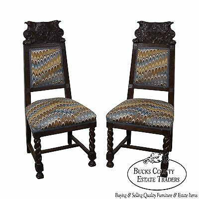 Antique 19th Century Carved Eagle Barley Twist Pair of Side Chairs (A)
