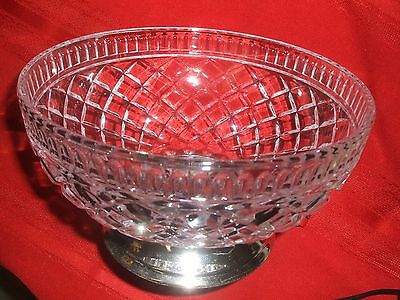 """CUT GLASS SPARKLING CLEAR FOOTED BOWL 7.5"""" dia CRYSTAL SILVER PEDESTAL TELEFLORA"""