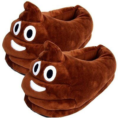 Unisex Poop Emoji Plush Stuffed Home Indoor Pair Slippers Super Soft Shoes USA