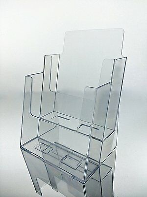"Marketing Holder Clear Acrylic 2-Tier Brochure Holder for 6""w Literature"