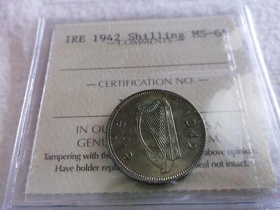 Ireland Shilling 1942 Pro-Graded Iccs Ms-65 Great Toning   Z33