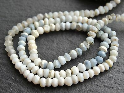 "HAND CUT WHITE, BLUE & GREY OPAL RONDELLES, 3.5mm, 13"", 120 beads"