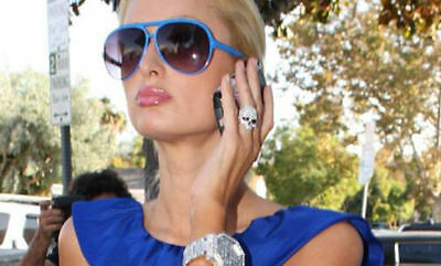 Lot of 8 pc CZ Crystal Silver Skull Rings Fashion Sparkle Paris Hilton NEW GIFTS
