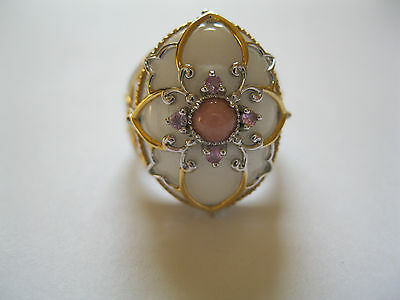 Signed NH Sterling Silver White Cabochon Ornate Ring  Sz 8