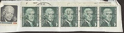 Stamps United States # 1278-1392, 1¢, lot of 6 perforated used stamps on paper.
