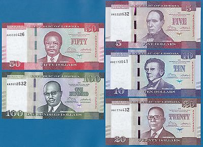 LIBERIA 5 note SET P New 2016 UNC  5 + 10 + 20 + 50 + 100 Dollars Low Shipping!