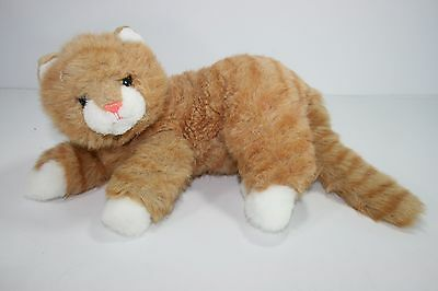 Ty Al E. Kat Gold Striped Curled Kitty Cat Plush Realistic Stuffed Kitten