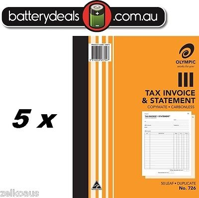 5 x Olympic No726 Tax Invoice and Statement Carbonless Book #726 250 x 200mm