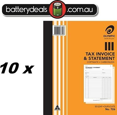 10 x Olympic No726 Tax Invoice and Statement Carbonless Book #726 250 x 200mm