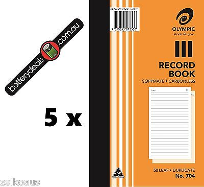 5 x Olympic Record Book Carbonless Duplicate No.704 #704 140857 200x125mm