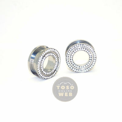 202aa9a58 1 Pair of Clear CZ 316L Surgical Steel Screw Fit Ear Tunnel Plugs Gauges