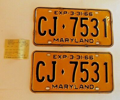 1966 Maryland License Plate set,good condition