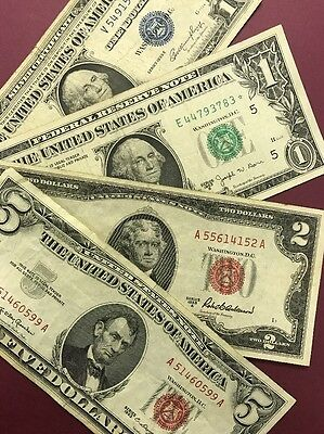 4 Note Paper Money Collection - Red Seal, Blue Seal, Joseph Barr..