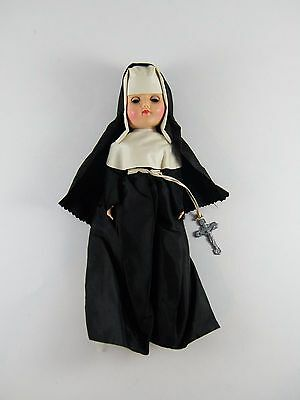 """Vintage 12"""" Nun Doll With Crucifix And Sleep Eyes, (Head Not Attached)"""