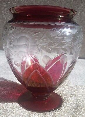 Ruby Red Cut To Clear Glass Vase