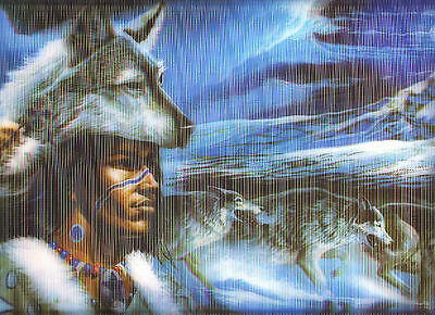 Holographic Lenticular 3D Image Indian Wears Wolf Head Poster Print 3 Dimensiona