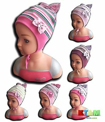 New Baby Toddler Girl Kids Spring/Autumn Cotton Hat Cap With Strings 1-2.5 Years