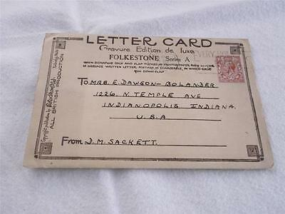 Great Britain 1933 Cover/letter Card From Folkestone To Usa  6 Views   Rs