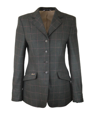 Pikeur Epsom Womens Show Jacket (No Velvet) - Green With Pink Check