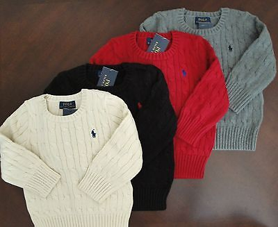 NWT Ralph Lauren Boys LS Solid Cable Crewneck Pullover Sweater Sz 5 6 7 NEW $55