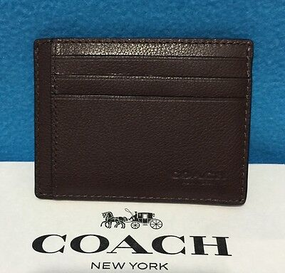 New Coach Men's Sports Calf Leather Card Case With Id Window Mahogany  F75022