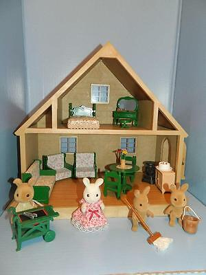 Sylvanian Families Vintage Country Cottage inc Lots of Furniture & Rabbit Family