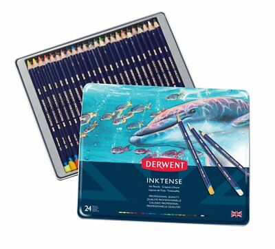 Derwent Inktense 24 Tin Set of Assorted Artists Colour Water-Soluble Ink Pencils