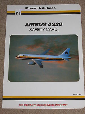 Monarch Airlines Airbus A320 Safety Card - January 1994 - Mint