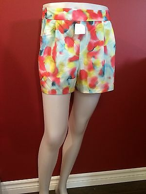 CYNTHIA ROWLEY Women's Colorful Side Zip Light Shorts - Size 14 - NWT