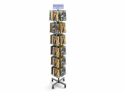 Fixture Displays 24-Pocket Book or DVD Stand for Floor, Full-View Pockets, Clip