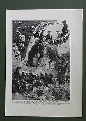 Vintage print 1914 French Alpine Chasseurs in the Vosges World War 1 WW1
