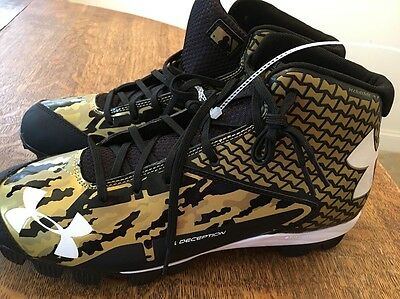 NEW Under Armour Deception Mid MENS SIZE 13 Baseball Cleats SPIKES Black Gold