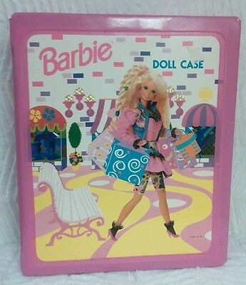 Barbie Doll 1992 Vtg Fashion Trunk Case Tote Pink Vinyl Mattel Closet Carry Toy