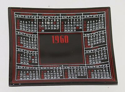 """Vintage 1960 Dated Smoked Glass Calendar Tray Dish  4 1/2"""" x 4"""""""