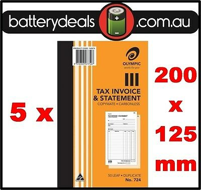5 Olympic No724 Tax Invoice and Statement Carbonless Book #724 50 Leaf 200 x 125