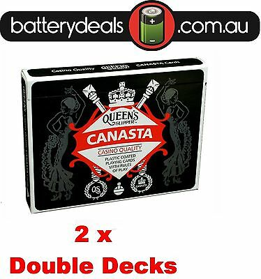 2x Canasta Playing Cards Queen's Slipper Double Deck Casino Quality Plastic coat