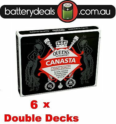 6 x Canasta Playing Cards Queen's Slipper Double Deck Casino Quality Plastic coa
