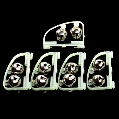 10xFluorescent Night Glow Light Fishing Rod Tip Clip Twin Bell Alarm AlertRing G