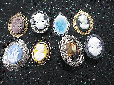 Cam 04--Lovely Asst Lot Of 8 Cameos  In Settings-Necklaces/pins/brooches ** New